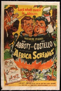 7h0010 AFRICA SCREAMS linen 1sh 1949 art of natives cooking Bud Abbott & Lou Costello in cauldron!