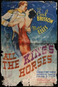7h0005 ALL THE KING'S HORSES 1sh 1935 art of Carl Brisson & Mary Ellis embracing, ultra rare!