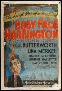 7h0006 BABY FACE HARRINGTON 26x39 1sh 1935 art of Charles Butterworth hanging from noose, ultra rare!