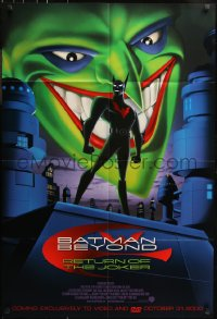 7h0038 BATMAN BEYOND RETURN OF THE JOKER 2-sided 27x40 video poster 2000 cool art of caped crusader!