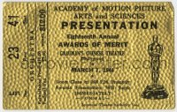 7h0027 18TH ANNUAL ACADEMY AWARDS 3x4 ticket 1946 the Oscars at Grauman's Chinese Theatre!