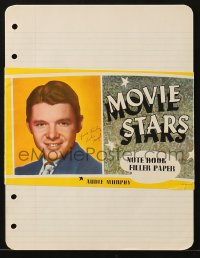 7h0034 AUDIE MURPHY notebook filler paper 1940s youthful portrait with biography on the back!