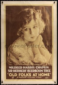 7h0020 OLD FOLKS AT HOME linen 1sh 1916 close up image of Mildred Harris Chaplin, ultra rare!
