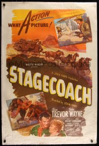 7h0023 STAGECOACH linen 1sh R1944 John Wayne in the classic movie that made him a huge star!