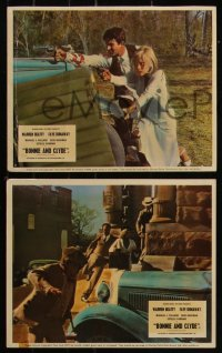7k0030 BONNIE & CLYDE 7 color English FOH LCs 1967 duo Warren Beatty & Faye Dunaway, Arthur Penn!