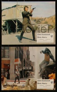 7k0031 DIRTY HARRY 7 color English FOH LCs 1971 great images of Clint Eastwood, Don Siegel classic!