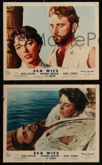 7k0018 SEA WIFE 8 color English FOH LCs 1957 sexy Joan Collins & Richard Burton on raft at sea!