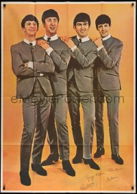 7p0024 BEATLES 39x55 commercial poster 1960s John, Paul, George & Ringo in matching suits & ties!