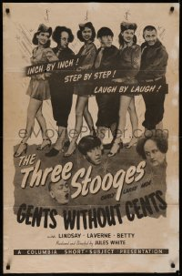7p0613 GENTS WITHOUT CENTS signed 1sh 1944 by the 3 ladies w/ Three Stooges, Moe, Larry Curly, rare!