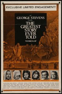 7p0635 GREATEST STORY EVER TOLD 1sh 1965 Max von Sydow as Jesus, exclusive limited engagement!