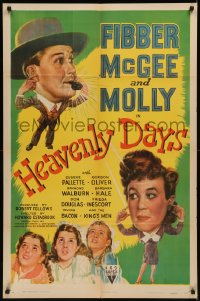 7p0650 HEAVENLY DAYS 1sh 1944 artwork of your top radio comics Fibber McGee & Molly!