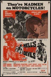 7p0651 HELL'S BLOODY DEVILS 1sh 1970 madmen on motorcycles, cool outlaw biker exploitation!