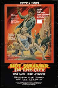 7p0660 HOT SUMMER IN THE CITY advance 24x37 1sh 1976 the fire in their loins erupted like a volcano!