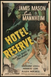7p0661 HOTEL RESERVE 1sh 1944 James Mason, Lucie Mannheim, from the novel by Eric Ambler!