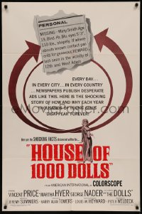 7p0662 HOUSE OF 1000 DOLLS 1sh 1967 Vincent Price, Martha Hyer, traffic in human flesh!
