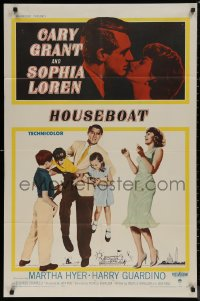 7p0664 HOUSEBOAT 1sh 1958 romantic close up of Cary Grant & beautiful Sophia Loren + with kids!