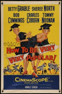 7p0665 HOW TO BE VERY, VERY POPULAR 1sh 1955 art of sexy students Betty Grable & Sheree North!