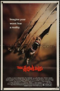 7p0667 HOWLING 1sh 1981 Joe Dante, cool art of screaming female tranforming into a werewolf!