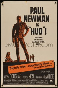 7p0668 HUD 1sh 1963 Mitchell Hooks art of Paul Newman as the man with the barbed wire soul!