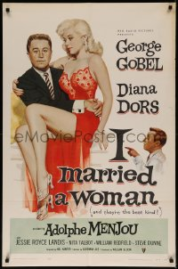 7p0673 I MARRIED A WOMAN 1sh 1958 artwork of sexiest Diana Dors sitting in George Gobel's lap!