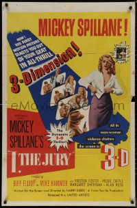 7p0676 I, THE JURY 3D 1sh 1953 Mickey Spillane, great images of sexy girl stripping!