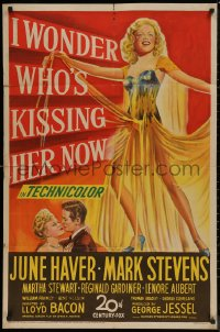 7p0675 I WONDER WHO'S KISSING HER NOW 1sh 1947 full-length art of sexiest June Haver!