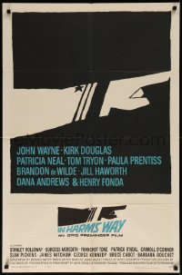 7p0679 IN HARM'S WAY 1sh 1965 Otto Preminger, classic Saul Bass pointing hand artwork!