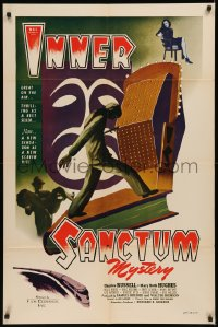 7p0681 INNER SANCTUM 1sh 1948 really cool art of murdered man standing on book by radio microphone!