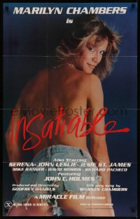 7p0682 INSATIABLE 24x37 1sh 1980 super sexy topless Marilyn Chambers wearing only jean shorts!