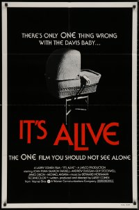 7p0685 IT'S ALIVE 1sh R1976 Larry Cohen, classic creepy baby carriage image!