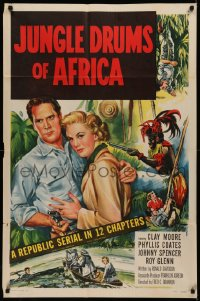7p0692 JUNGLE DRUMS OF AFRICA 1sh 1952 Clayton Moore with gun & Phyllis Coates, Republic serial!