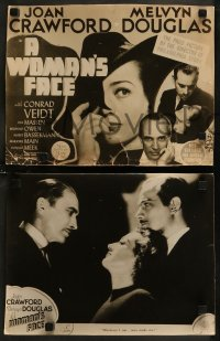 7p0013 WOMAN'S FACE 8 Aust LCs 1941 Joan Crawford with Melvyn Douglas & Conrad Veidt, different!