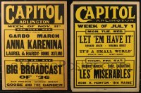 7s0004 LOT OF 2 LOCAL THEATER JUMBO WINDOW CARDS 1935 Anna Karenina, Les Miserables & more!
