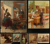 7s0009 LOT OF 7 UNFOLDED MISCELLANEOUS PRINTS 1860s-1920s great art from over a century ago!