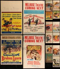 7s0038 LOT OF 16 WINDOW CARDS 1940s-1950s great images from a variety of different movies!