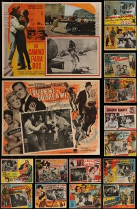 7s0027 LOT OF 22 MEXICAN LOBBY CARDS 1950s-1960s cool scenes from a variety of different movies!