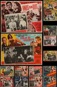 7s0030 LOT OF 19 MEXICAN LOBBY CARDS 1940s-1960s cool scenes from a variety of different movies!