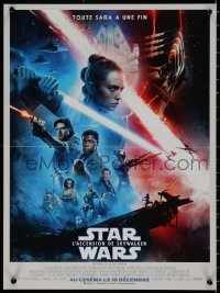 7t0347 RISE OF SKYWALKER advance French 16x21 2019 Star Wars, Ridley, Hamill, Fisher, cast montage!