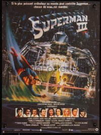 7t0357 SUPERMAN III French 15x21 1983 art of Christopher Reeve flying with Richard Pryor by Berkey!