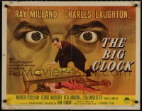 7t0378 BIG CLOCK style A 1/2sh 1948 wild art of Ray Milland w/body & close up giant looming eyes!
