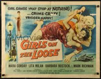 7t0411 GIRLS ON THE LOOSE 1/2sh 1958 classic catfight art of girls in gangs who stop at nothing!