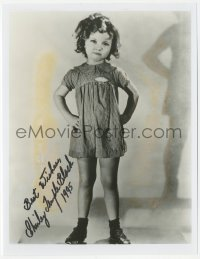 7w1042 SHIRLEY TEMPLE signed 8x10 REPRO still 1995 full-length portrait wearing a cute dress!