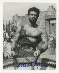 7w1050 STEVE REEVES signed 8x10 REPRO still 1990s great close up in chariot from Hercules Unchained!