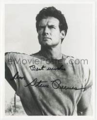 7w1049 STEVE REEVES signed 8x10 REPRO still 1980s portrait of the bodybuilder/actor with stern look!