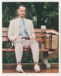 7w1059 TOM HANKS signed color 8x10 REPRO still 2000s best image sitting on bench in Forrest Gump!