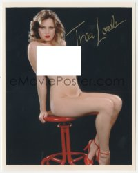 7w1061 TRACI LORDS signed color 8x10 REPRO still 2000s completely nude portrait sitting on stool!