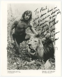 7w1064 WOLF LARSON signed 8x10 REPRO still 1990s great posed portrait as Tarzan with lion!