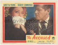 7w0082 ACCUSED signed LC #2 1949 by Robert Cummings, he's staring at scared Loretta Young!