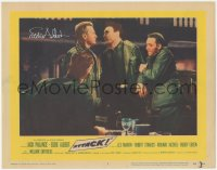 7w0088 ATTACK signed LC #5 1956 by Eddie Albert, who's in a heated argument with Jack Palance!