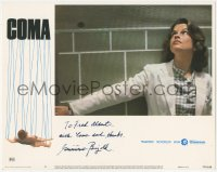 7w0099 COMA signed LC #2 1977 by Genevieve Bujold, close up wearing lab coat, Michael Crichton